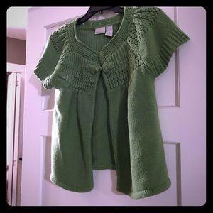 Green Kim short sleeve cardigan sweater